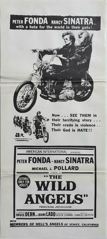 The Wild Angels Australian daybill poster with Peter Fonda and Nancy Sinatra 1966