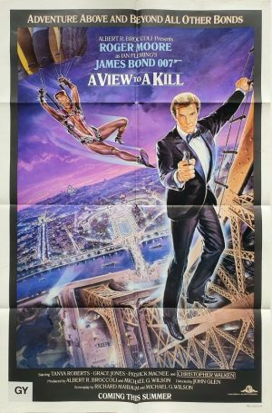 a view to a kill us one sheet poster with roger moore and grace jones 1985