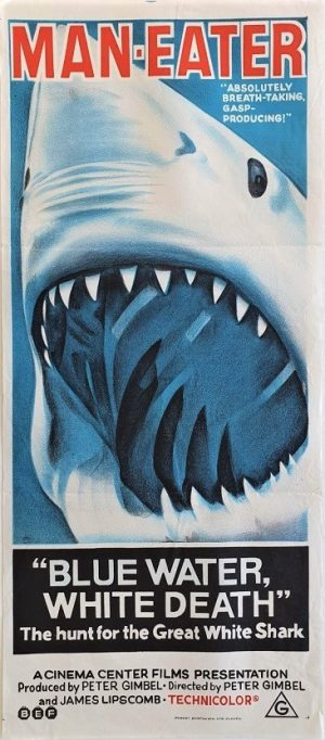 blue water white death australian daybill poster great white shark image like jaws poster