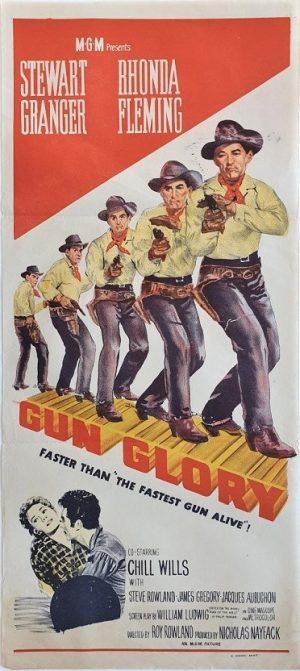 gun glory australian daybill poster with stewart granger 1957