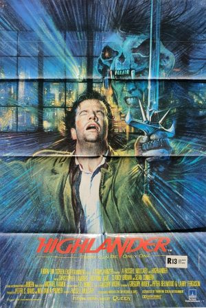 highlander UK one sheet movie poster with christopher lambert 1986