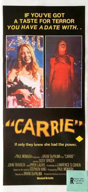 Carrie australian daybill poster by Stephen King 1976