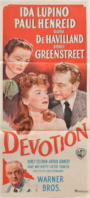 Devotion daybill poster with Ida Lupino, Paul Henreid and Olivia DeHavilland 1946
