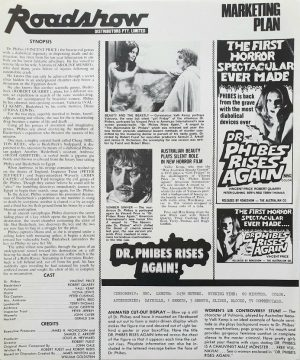 Dr Phibes rises again Australian press sheet with Vincent Price 1972