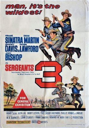Sergeants 3 australian one sheet poster with frank sinatra,dean martin and sammy davis jr 1962