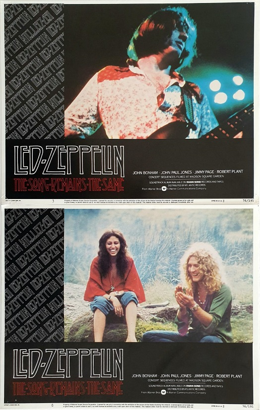The Song Remains The Same US Lobby Card Pair 3 & 8 LED Zeppelin