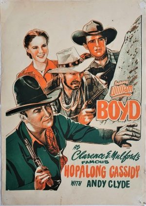 Hopalong Cassidy New Zealand daybill poster with William Boyd and Andy Clyde