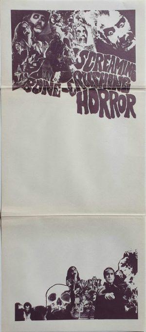 Screaming Bone-Crushing Horror movie stock australian daybill poster with Hammer Horror images 1970's