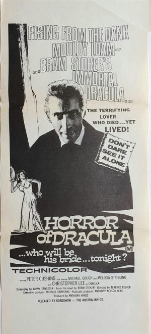 horror of dracula australian daybill poster with christopher lee 1958