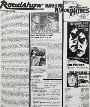 the abominable Dr Phibes Australian press sheet with Vincent Price 1971