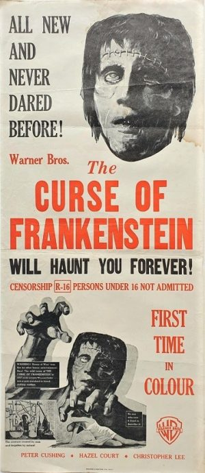 the curse of frankenstein daybill poster Hammer Horror Production with Peter Cushing, Hazel Court and Christopher Lee 1957