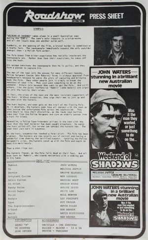 weekend of shadows australian press sheet 1978