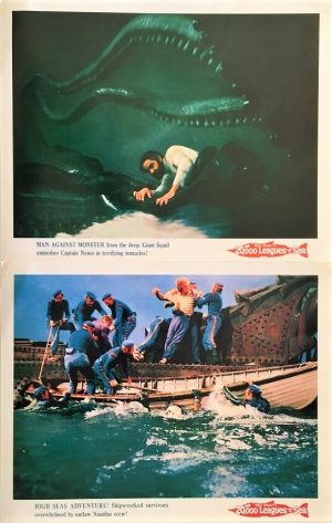 20,000 leagues under the sea lobby cards with kirk douglas and james mason by walt disney 1960 rerelease