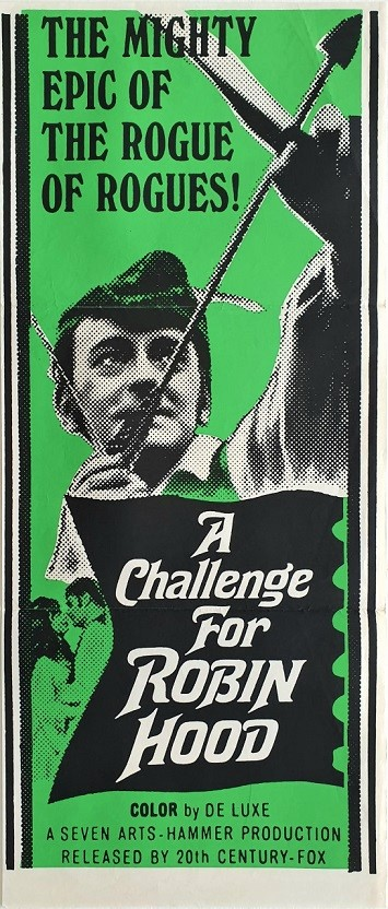 A challenge for Robin Hood australian daybill poster for this Hammer Production 1967
