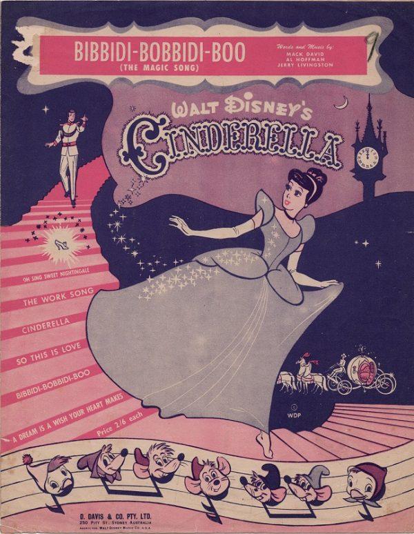 Cinderella 1950 Australian sheet music Walt Disney