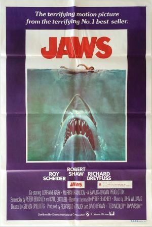 Jaws 1975 Australian one sheet movie poster incredibly rare with New Zealand additional warning snipe (5)