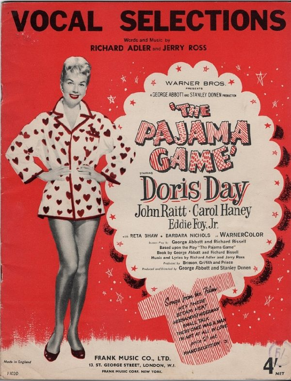 The Pajama Game with Doris Day UK sheet music book 1957