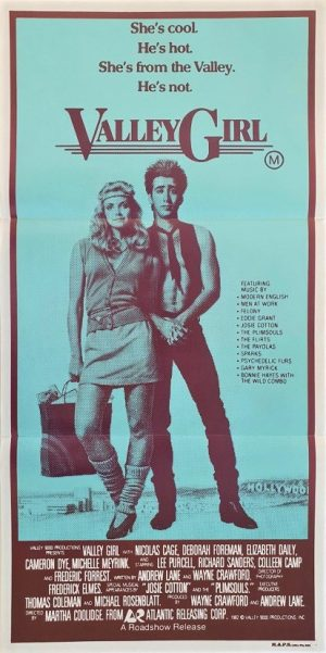 Valley Girl Australian daybill poster with Nicolas Cage 1983