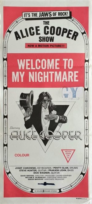 Welcome to my nightmare the Alice Cooper show australian daybill poster with artwork by Drew Struzan 1975