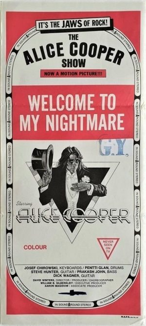 Welcome to my nightmare the Alice Cooper show australian daybill poster with artwork by Drew Struzan (3)