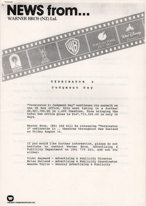 Terminator 2 New Zealand Distibutor production information document