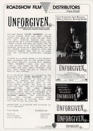 Unforgiven with Clint Eastwood Australian press sheet 1992