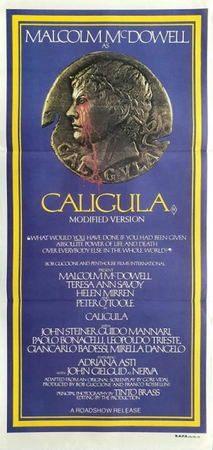 Caligula daybill movie poster with Helen Mirren, Malcolm McDowell and Peter O'Toole 1979
