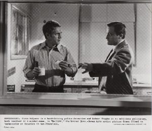 Bullitt US Still 1968 8 x 10 black and white image of Steve McQueen and Robert Vaughn