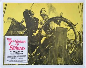 the 7th voyage of sinbad 1958 re-release lobby card from 1975 with a Ray Harryhausen monster (7)