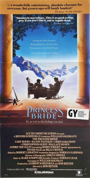 the princess bride australian daybill poster 1987 with a New Zealand GY rating snipe (1)