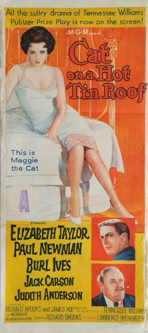 Cat on a hot tin roof Australian daybill poster with Elizabeth Taylor and Paul Newman 1958