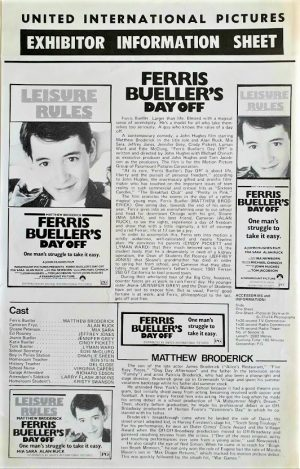 Ferris Bueller's day off Australian Press Sheet (4)