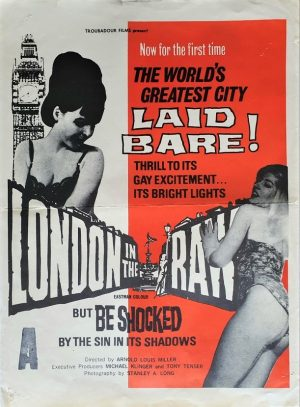 London in the Raw New Zealand daybill poster 1964