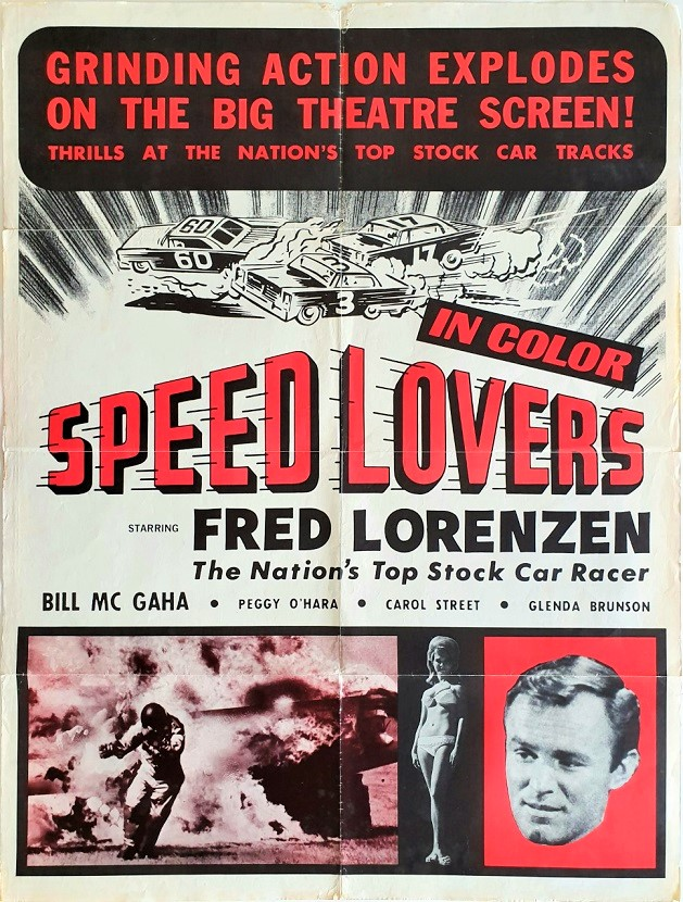 Speed Lovers One Sheet poster 1968 stock car racing movie with William F. McGaha, Fred Lorenzen and Peggie O'Hara (11)