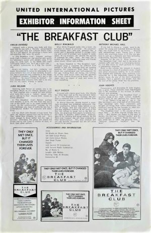 The Breakfast Club Australian Press Sheet 1985