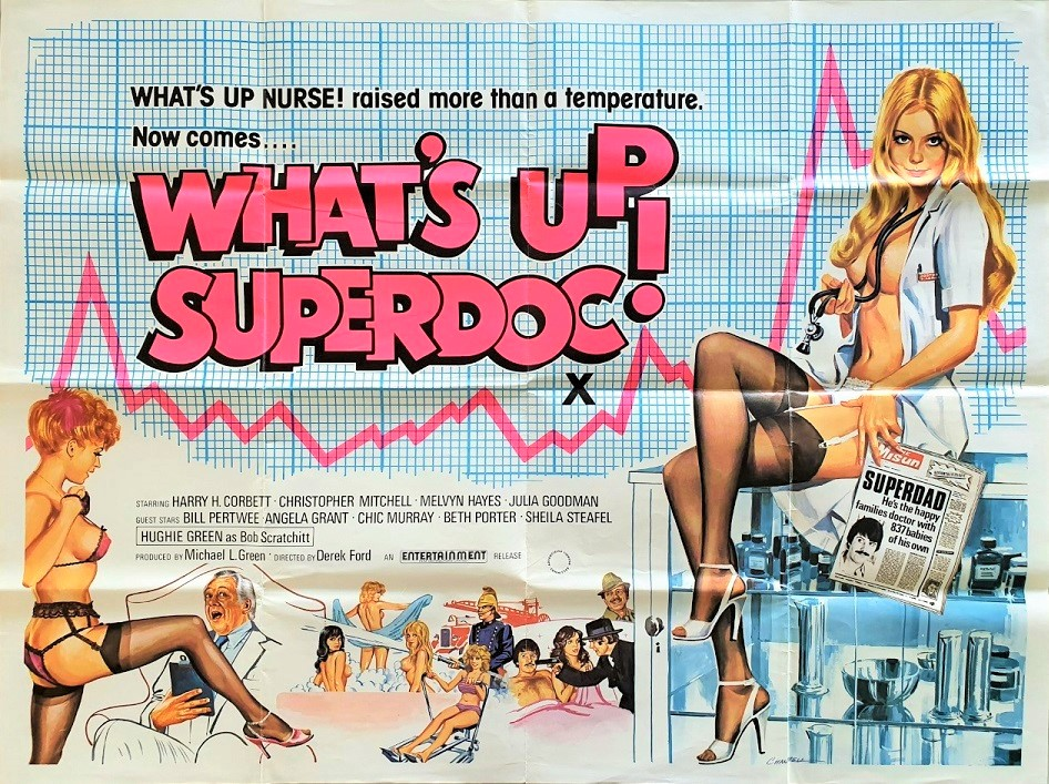 What's up superdoc UK quad poster by Tom Chantrell 1978 staring Mary Millington