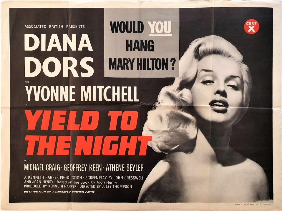 Yield to the Night UK Quad poster 1956 also known as Blonde Sinner in the United States staring Diana Dors, Yvonne Mitchell and Michael Craig (1)