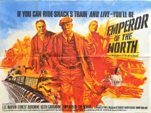 Emperor of the north UK quad poster with Lee Marvin artwork by Tom Chantrell 1973