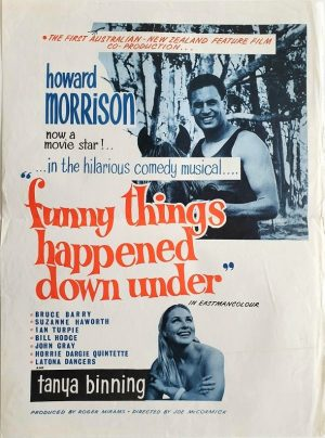 funny things happened down under new zealand daybill poster with Howard Morrison and Olivia Newton-john 1966