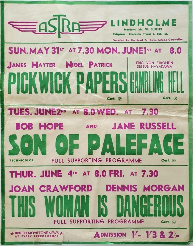 1950's UK Playbill for the Lindholme Astra Cinema with Pickwick Papers, Gambling Hell, Son Of Paleface with Bob Hope and Jane Russell (3)