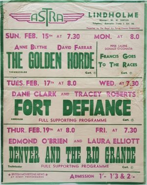 1950's UK Playbill for the Lindholme Astra Cinema with The Golden Horde with Anne Blythe, Fort Defiance with Dan Clark and Denver And The Rio Grande with Edmond O'Brien and Laura Elliott