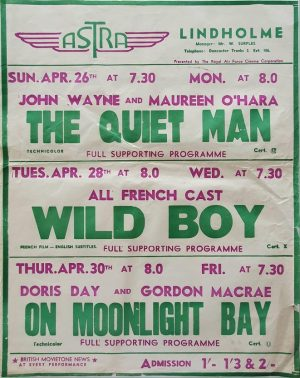 1950's UK Playbill for the Lindholme Astra Cinema with The Quiet Man with John Wayne and Maureen O'Hara, Wild Boy with all French cast and On Moonlight Bay with Doris Day (1)