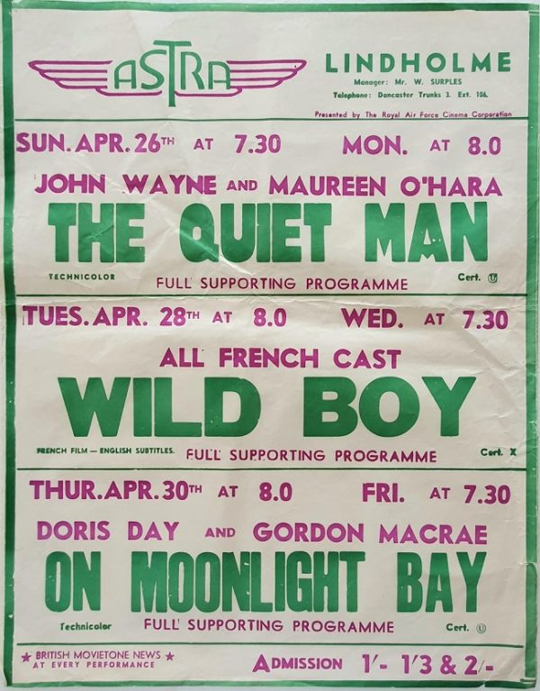 1950's UK Playbill for the Lindholme Astra Cinema with The Quiet Man with John Wayne and Maureen O'Hara, Wild Boy with all French cast and On Moonlight Bay with Doris Day (3)