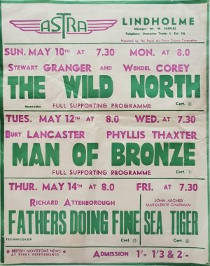 1950's UK Playbill for the Lindholme Astra Cinema with The Wild North with Stewart Granger, Man of Bronze with Burt Lancaster, Fathers Doing Fine with Richard Attenborough and Sea Tiger with John Archer (3)