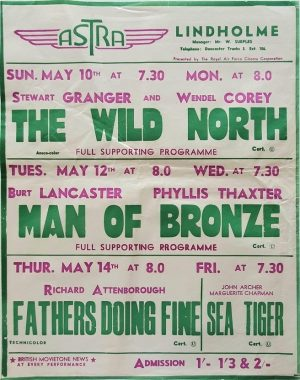 1950's UK Playbill for the Lindholme Astra Cinema with The Wild North with Stewart Granger, RAF Lindholme