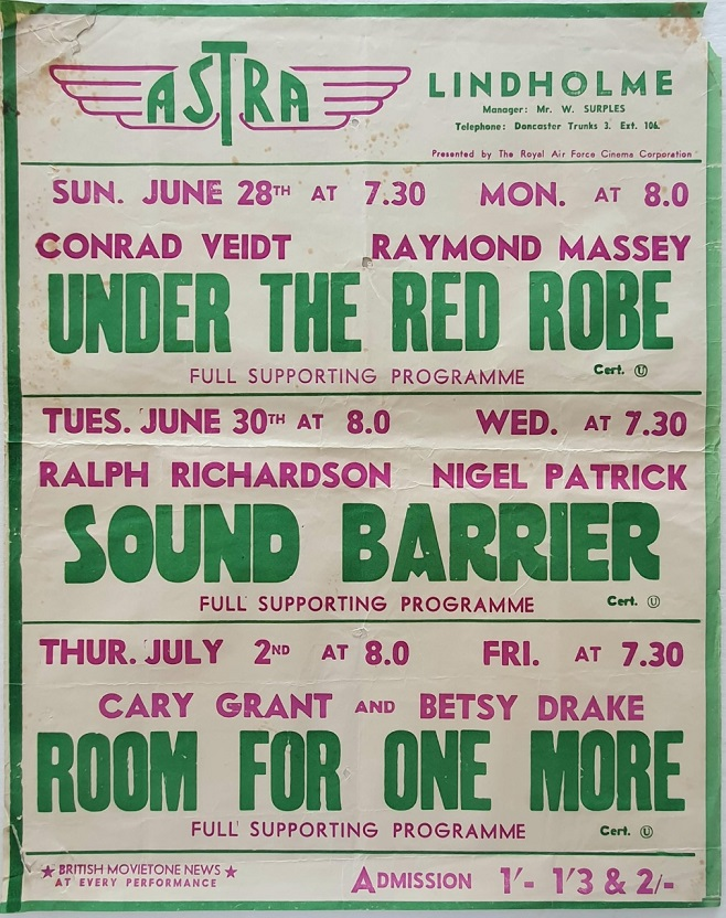 1950's UK Playbill for the Lindholme Astra Cinema with Under The Red Robe with Conrad Veidt, Sound Barrier with Ralph Richardson and Room For One More with Cary Grant and Betsy Drake (1)
