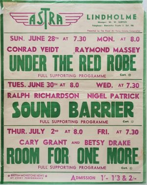 1950's UK Playbill for the Lindholme Astra Cinema with Under The Red Robe with Conrad Veidt, Sound Barrier with Ralph Richardson and Room For One More with Cary Grant and Betsy Drake (2)