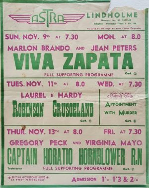 1950's UK Playbill for the Lindholme Astra Cinema with Viva Zapata with Marlon Brando and Jean Peters, Robinson Crusoeland with Laurel & Hardy and Captain Horatio Hornblower R.N with Gregory Peck & Virginia Mayo