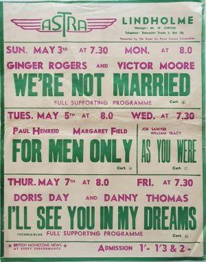 1950's UK Playbill for the Lindholme Astra Cinema with We're Not Married with Ginger Rogers & Victor Moore, For Men Only with Paul Henreid & Margaret Field, As You Were and I'll See You In My Dreams Doris Day & Danny Thom (3)
