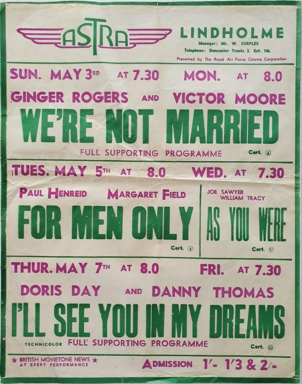 1950's UK Playbill for the Lindholme Astra Cinema with We're Not Married with Ginger Rogers Victor Moore, For Men Only with Paul Henreid Margaret Field , As You Were and I'll See You In My Dreams Doris Day Danny Thomas (2)